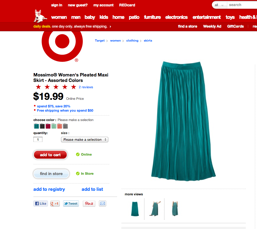 Mossimo's Women's Pleated Maxi Skirt @ Target